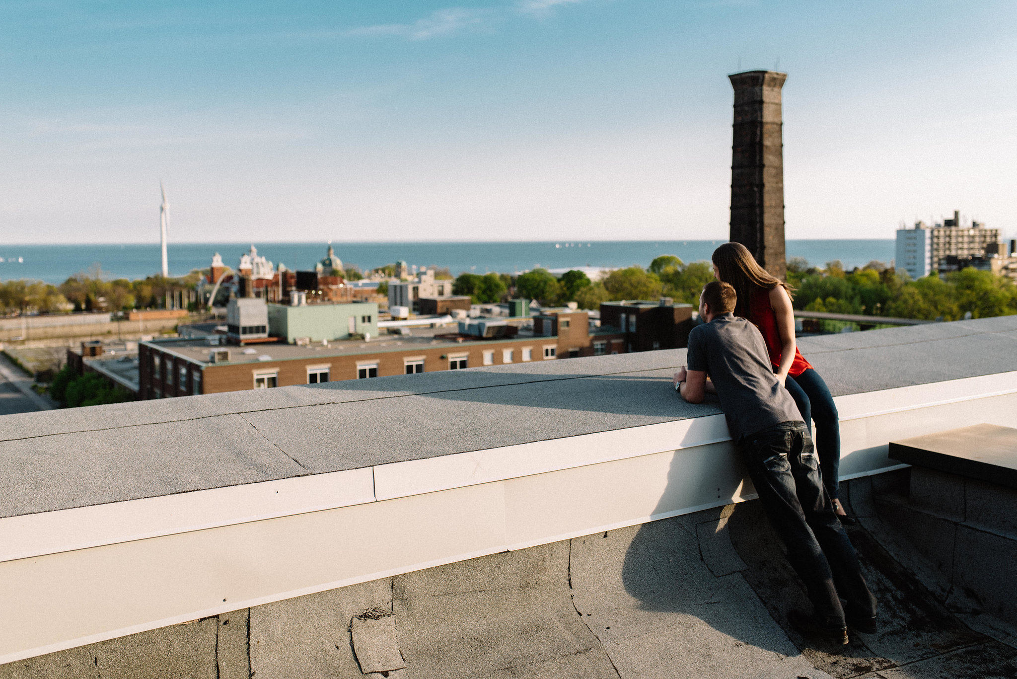 Rooftop engagement photos -